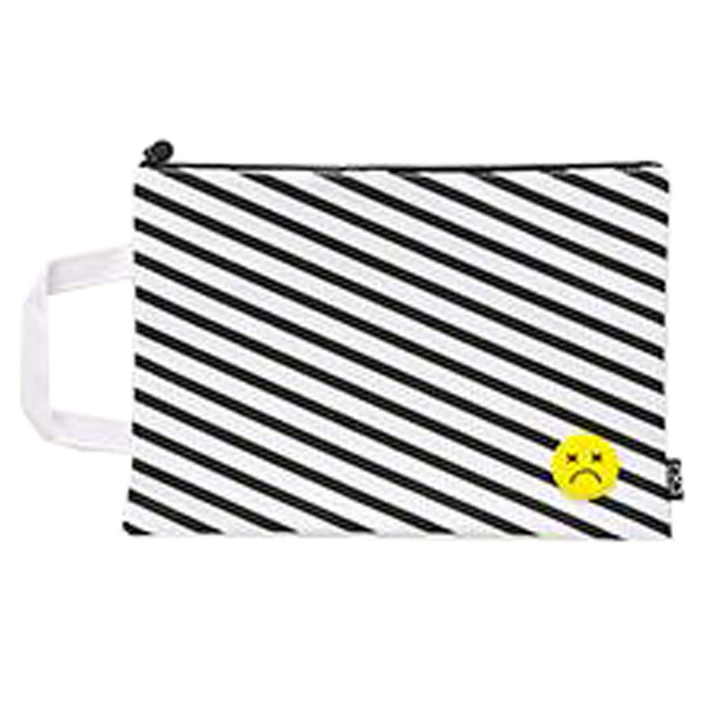 Cute File Bag Stationery Bag Pouch File Envelope for Office/School Supplies, Large Black White