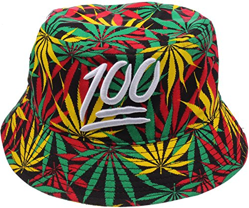 Enimay-Weed-Pot-Leaf-Bucket-Hat-KUSH-Marijuana-Ganja-Fishing-Style-Hat-Rasta-100-LargeX-Large