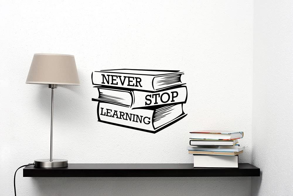 com never stop learning wall decal motivational quote