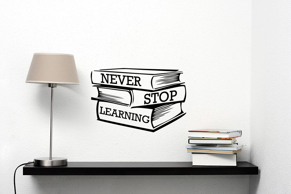 Never Stop Learning Wall Decal Motivational Quote Sticker Vinyl Lettering Books Education Inspirational Saying Art School Decorations Classroom Library College Dorm Decor ed5