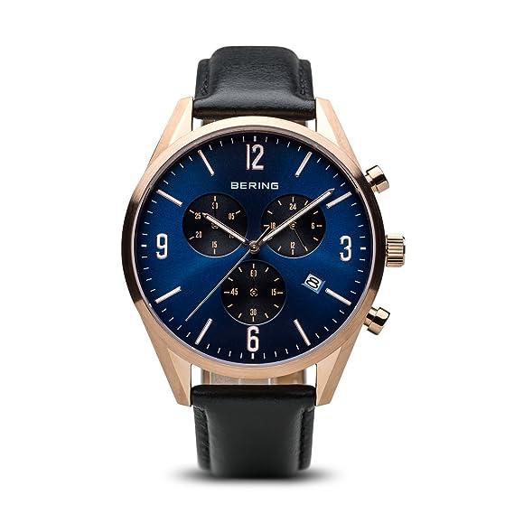 BERING Reloj Analógico para Hombre de Cuarzo con Correa en Cuero 10542-567: Amazon.es: Relojes