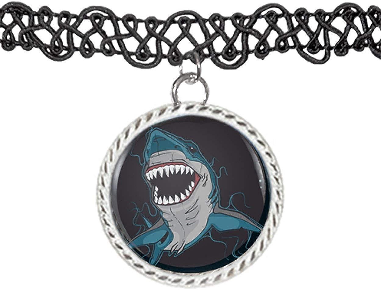 Arthwick Store Illustration of a Shark with Sharp Teeth Choker Pendant Charm Necklace