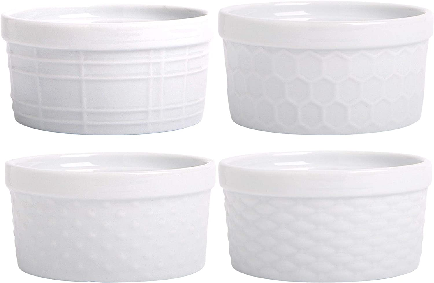 Palais Dinnerware Ramekins Collection Porcelain Soufle Dishes (8 Oz - Set of 4, White - Assorted Finish)