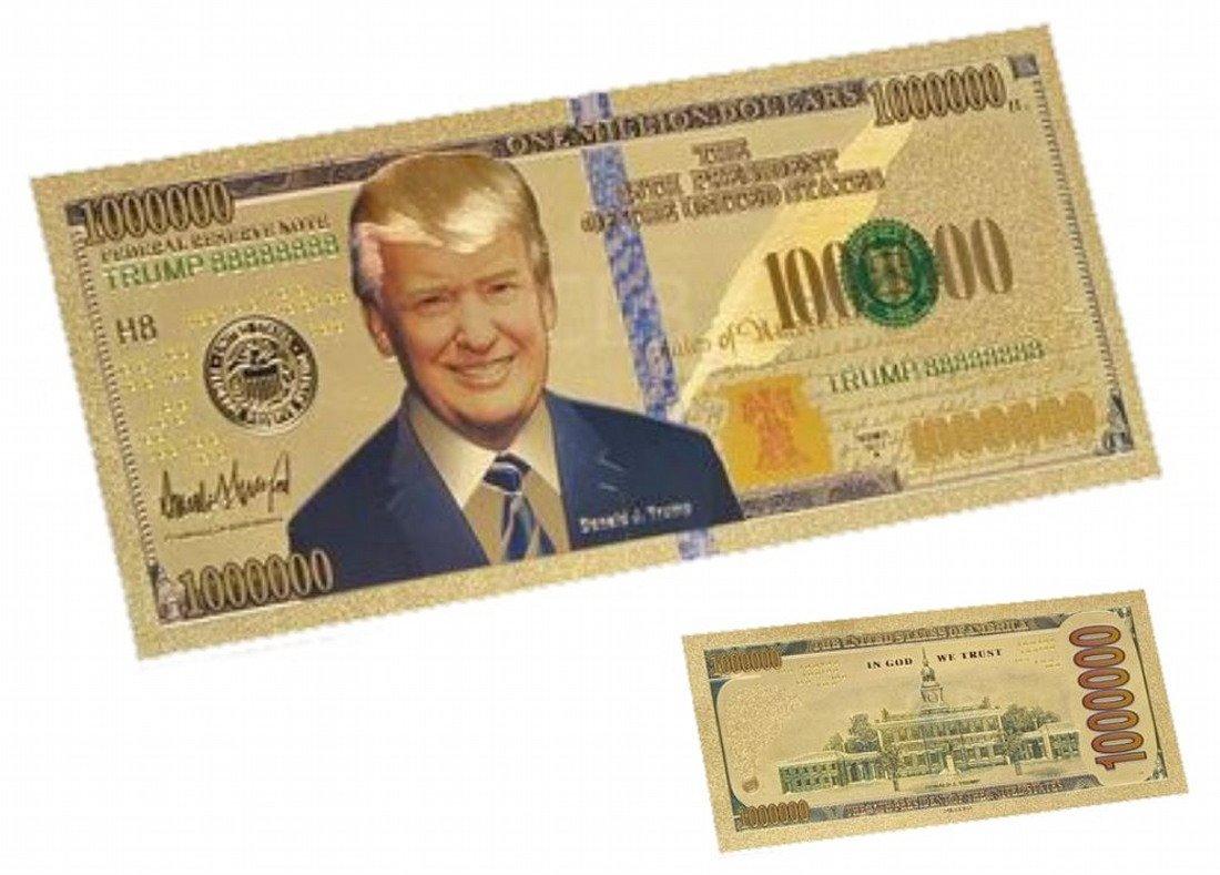 24K Goldfolie Donald Trump 1 Million-Dollar-Banknote US Dollar 1 ...
