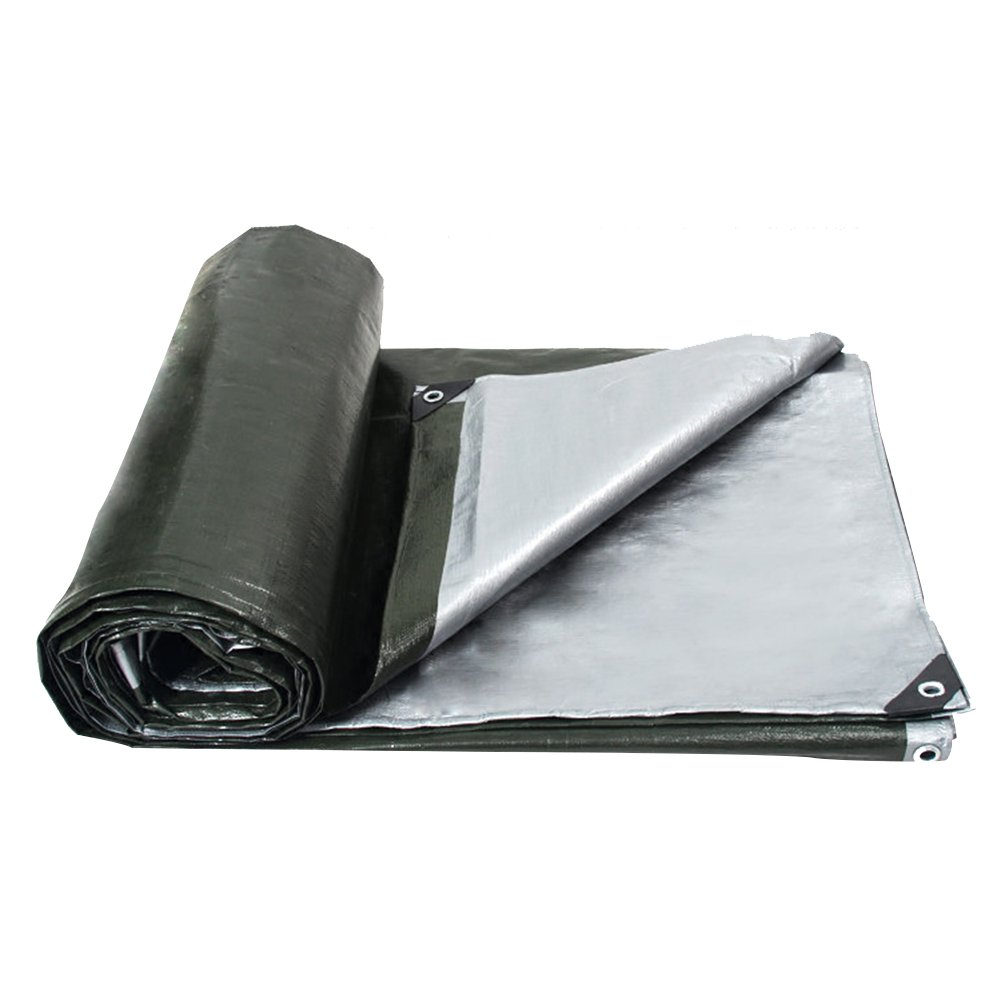 PENGFEI Waterproof Tarpaulin Rain Cloth Multifunction Lorry Warehouse Cargo Dust-proof Shade Wear-resistant Green + Silver Polyethylene, Thickness 0.35mm, -180 G/M², 13 Size Options (Size : 3 x 3m)