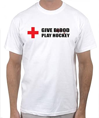 f739bb522f46 Amazon.com  Give Blood - Play Hockey T-shirt  Clothing