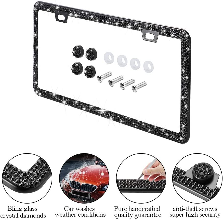 Handmade Finest 14 Facets SS20 Diamond Stainless Steel License Plate Holder Cover Otostar Bling Crystal Car License Plate Frame Black 3 Rows 2 Holes 2 Pack