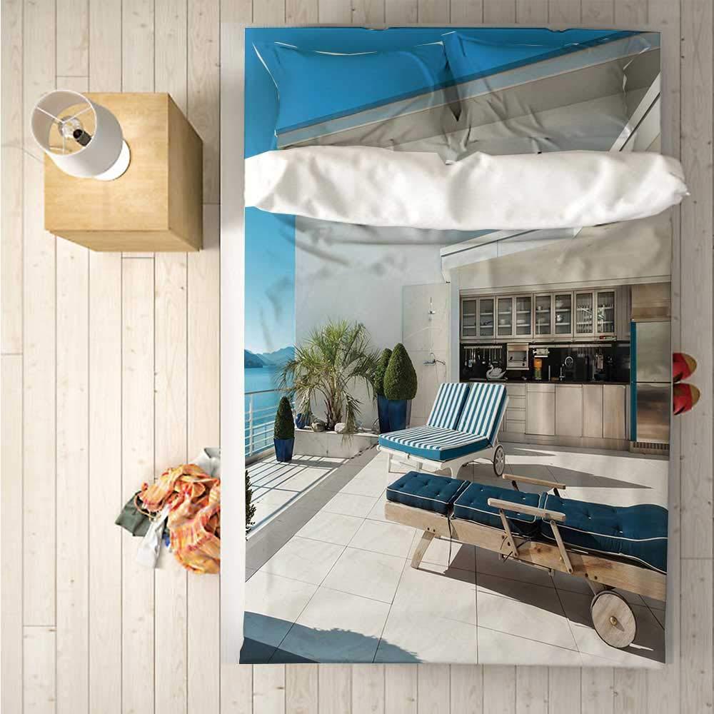 Modern Decor Soft 4 Piece Bedding Set,Contemporary Apartment with Veranda Ocean Luxury House Empty Serene for Bedroom,One Side Print : Singe