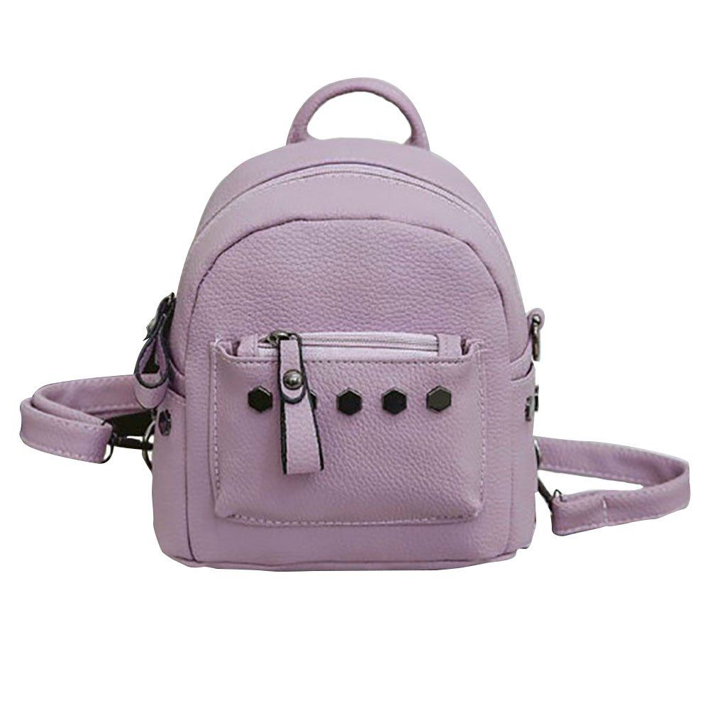 ThinkMax Fashionable Rivets PU Leather Bag Small Casual Backpack with Adjustable Strap Girl's Favorite