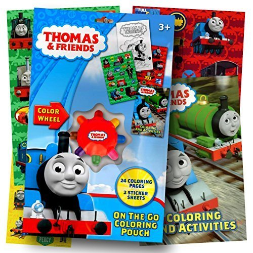 Thomas the Train On the Go Coloring Pouch Activity Set With Stickers, Coloring Pages, and Coloring Wheel - Includes 1 bonus sheet of Thomas and Friends Stickers -