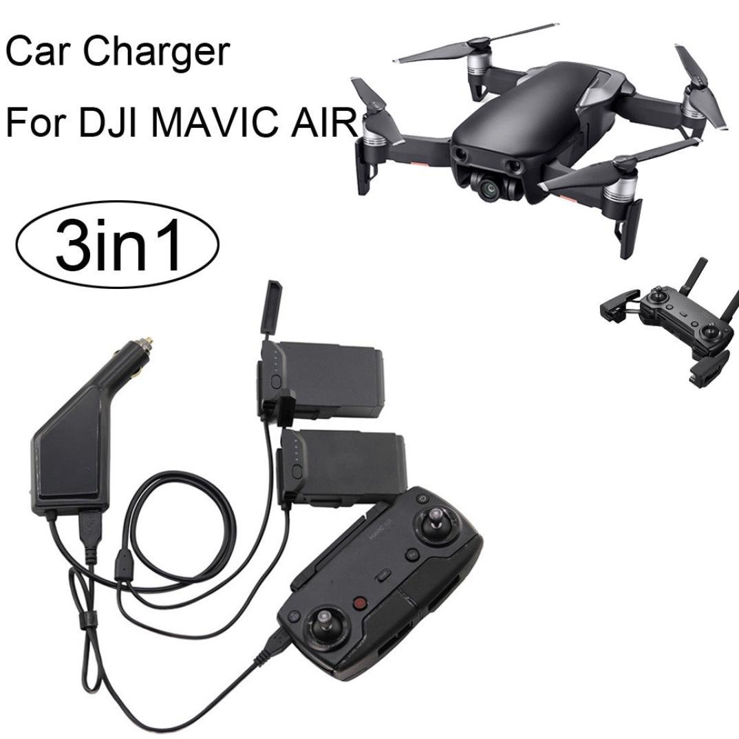FAPIZI 3in1 Car Charger Adapter For DJI Mavic Air Remote Control & Battery Charging Hub Black by FAPIZI