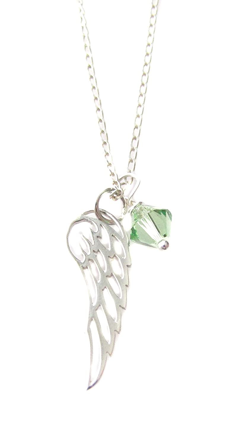 "August Swarovski Birthstone Crystal Sterling Silver Angel Wing Charm Necklace 18"" Birthday Gift"