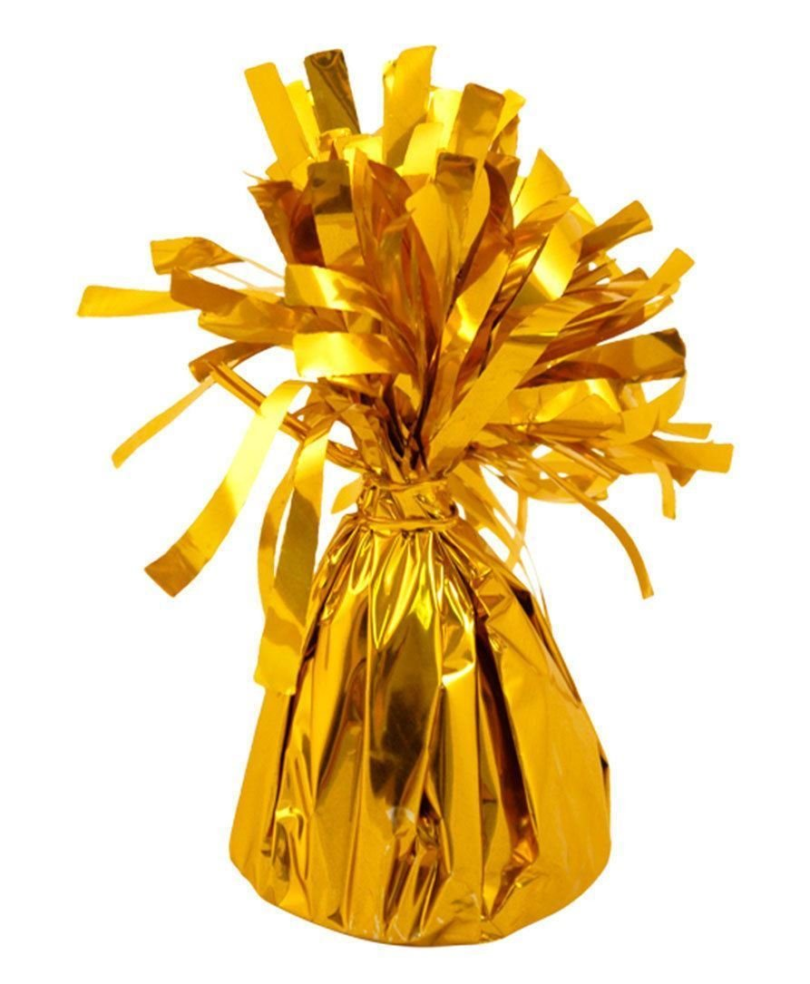 12 X helium balloon weights GOLD foil tassle cone Oaktree
