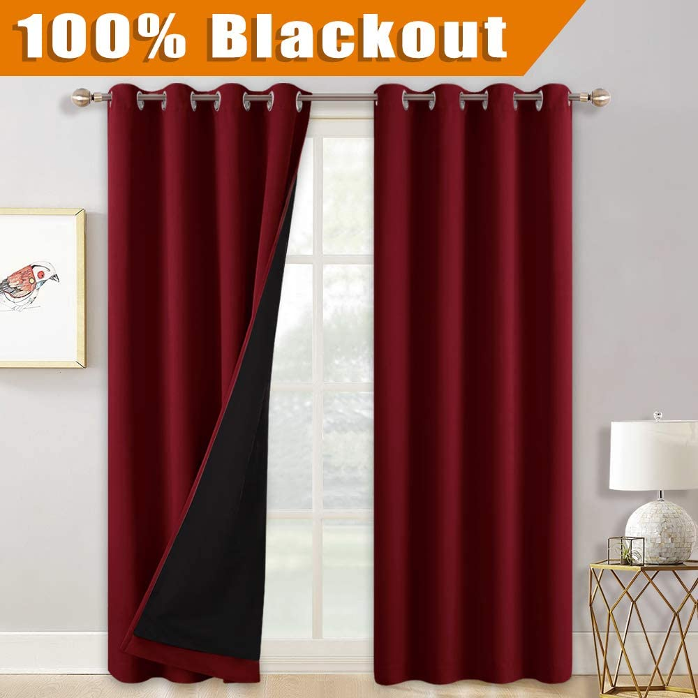 RYB HOME Sliding Glass Door Curtains for Living Room, Thermal Insulated Room Divider Curtain Noise Absorb Window Panels for Office/Patio Door, 52 inches Wide x 108-inches Long, Burgundy Red, 1 Pair