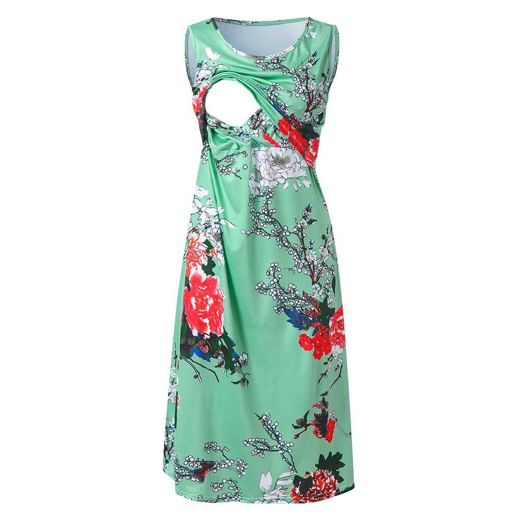 Lurcardo Stillkeid Umstandskleid Kurzarm Blumen Rundhals Muster Still Kleid Schwangerschafts Kleid Mode Still-Nachthemd Stillen Kleid Umstandsmode Frauen Damen Kleid Sommer Damen Kleider