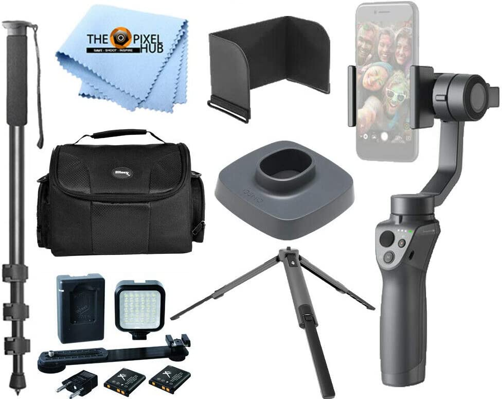 Handheld Stabilizer Action Bundle Includes DJI Tripod Osmo Base DJI Osmo Mobile 2 Support System LED Light Plus More 72 Monopod