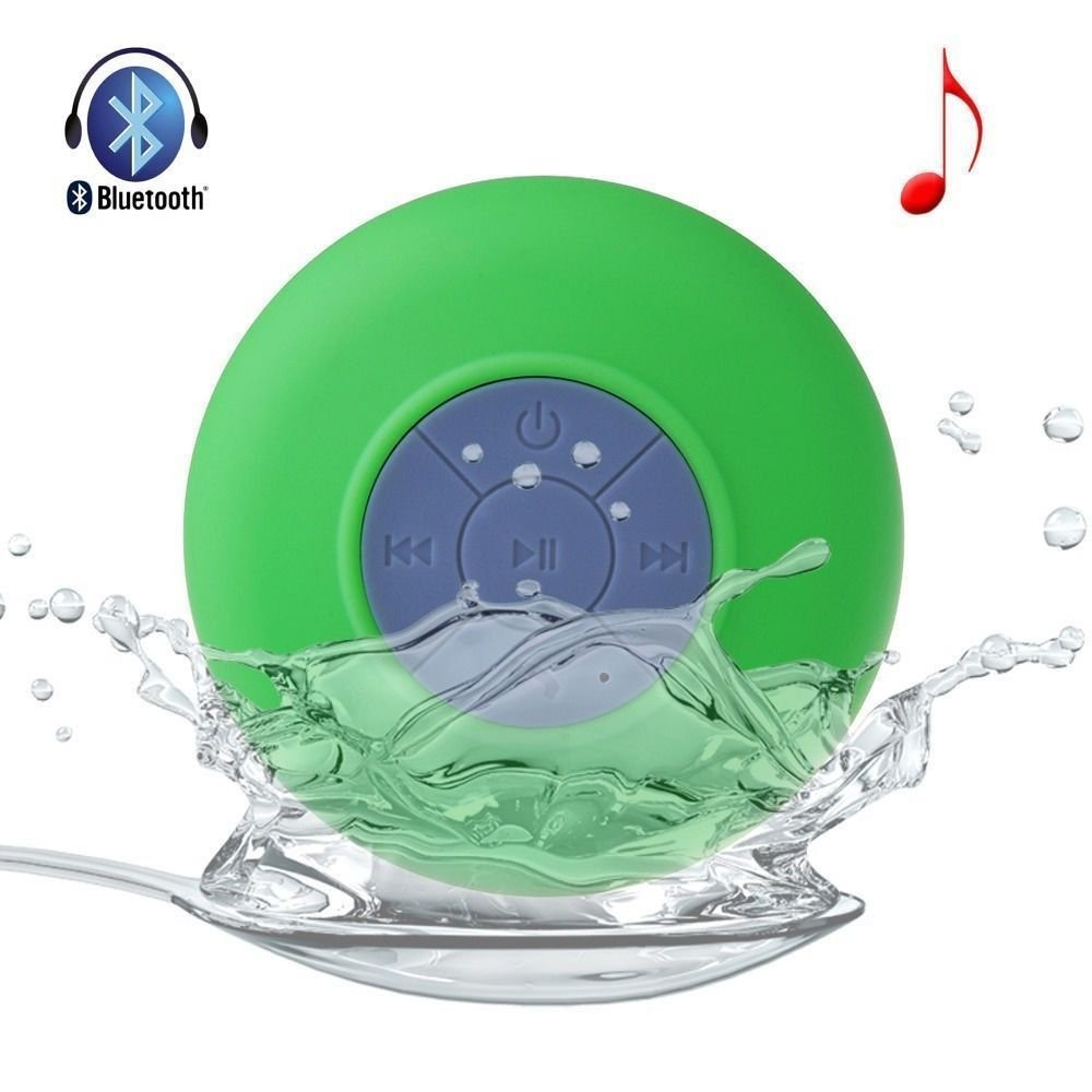 Allmet Waterproof Wireless Bluetooth Stereo Shower Speaker, Mini Ultra Portable Handsfree Speakerphone with Built-in Mic. Compatible with All Bluetooth Devices iPhone and All Android Devices (Green) by Allmet