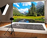 Mountains and Trees Water Scene Natural Scenery Backdrop 7X5FT Laeacco Vinyl Thin Photography Background Portraits Backdrop for Photo Studio Props