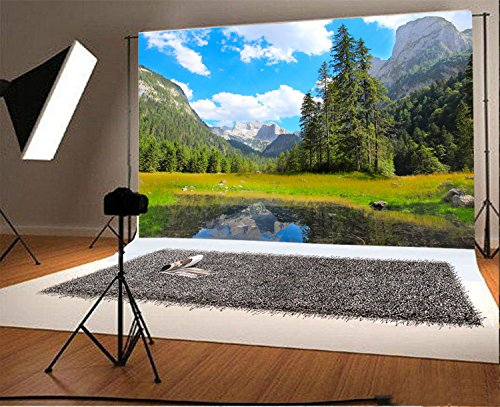 Mountains and Trees Water Scene Natural Scenery Backdrop 7X5FT Laeacco Vinyl Thin Photography Background Portraits Backdrop for Photo Studio (Scene Backdrops)