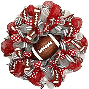 Custom Football Sports Wreath with your Team Colors and Glittering Football Handmade Deco Mesh 24