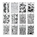 VEYLIN Bullet Journal Stencil Set, 12 Pieces Painting Plastic Stencil for Kids Diary Scrapbook DIY Drawing Template