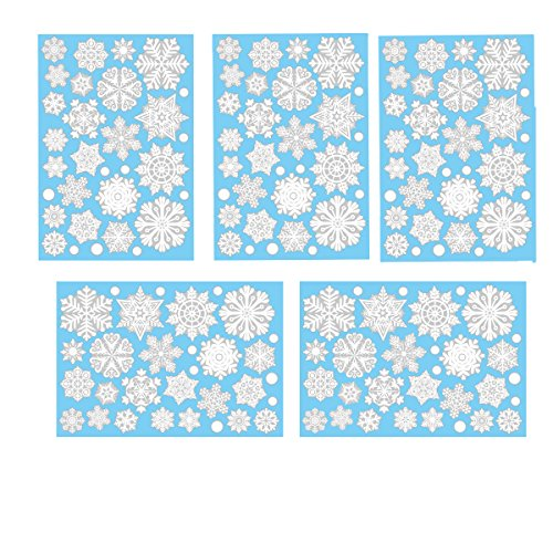 Aomon 110 Snowflake Window Clings Christmas Winter Wonderland Decorations with 45 White Dots
