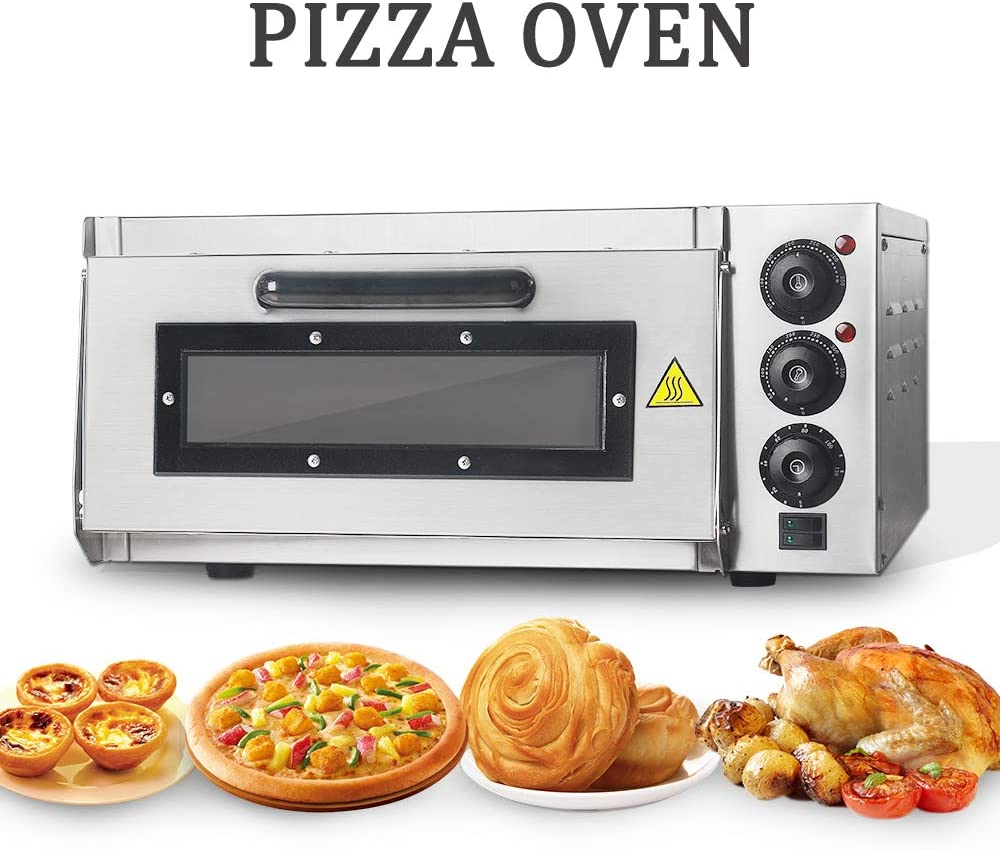 TRUSTME Commercial Pizza Oven 2200W Stainless Steel Pizza Oven Countertop 110V Electric Pizza and Snack Oven 16 Inch Deluxe Pizza and Multipurpose Oven for Restaurant Home Pizza Pretzels Baked Dishes