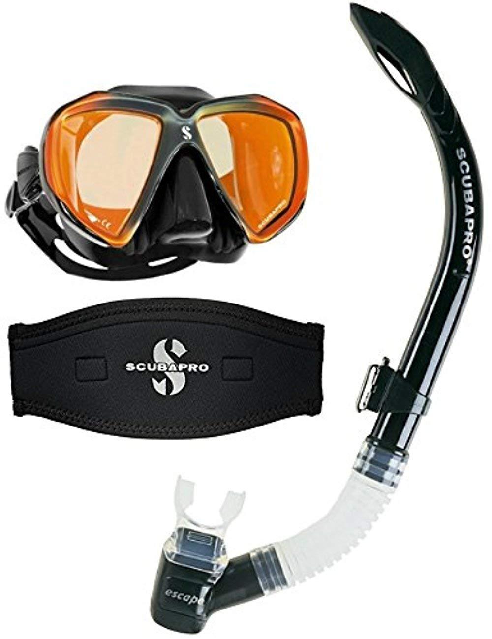 Scubapro Spectra Scuba Dive Mask Black Bronze Mirrored Lens w/Neoprene Strap Cover & Escape Semi-Dry Snorkel