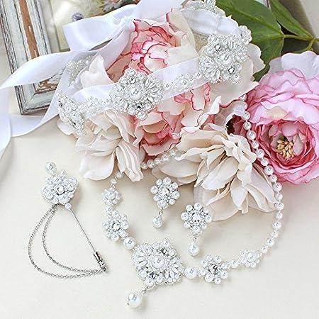 Lashi Beads LaciqBeads Diadema de Cinta/Collar/Pendientes/Pin de Solapa Kit Hecho a Mano de 4 Piezas (Perla de Marfil) (Perla clásica)