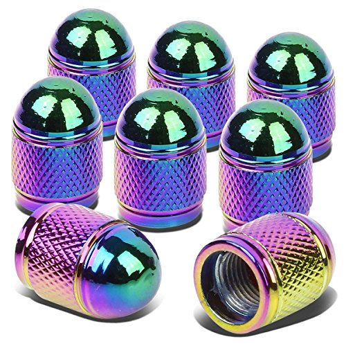 Bullet Style Polished Aluminum Rainbow Color Tire Vavle Stem Caps (Pack of ()