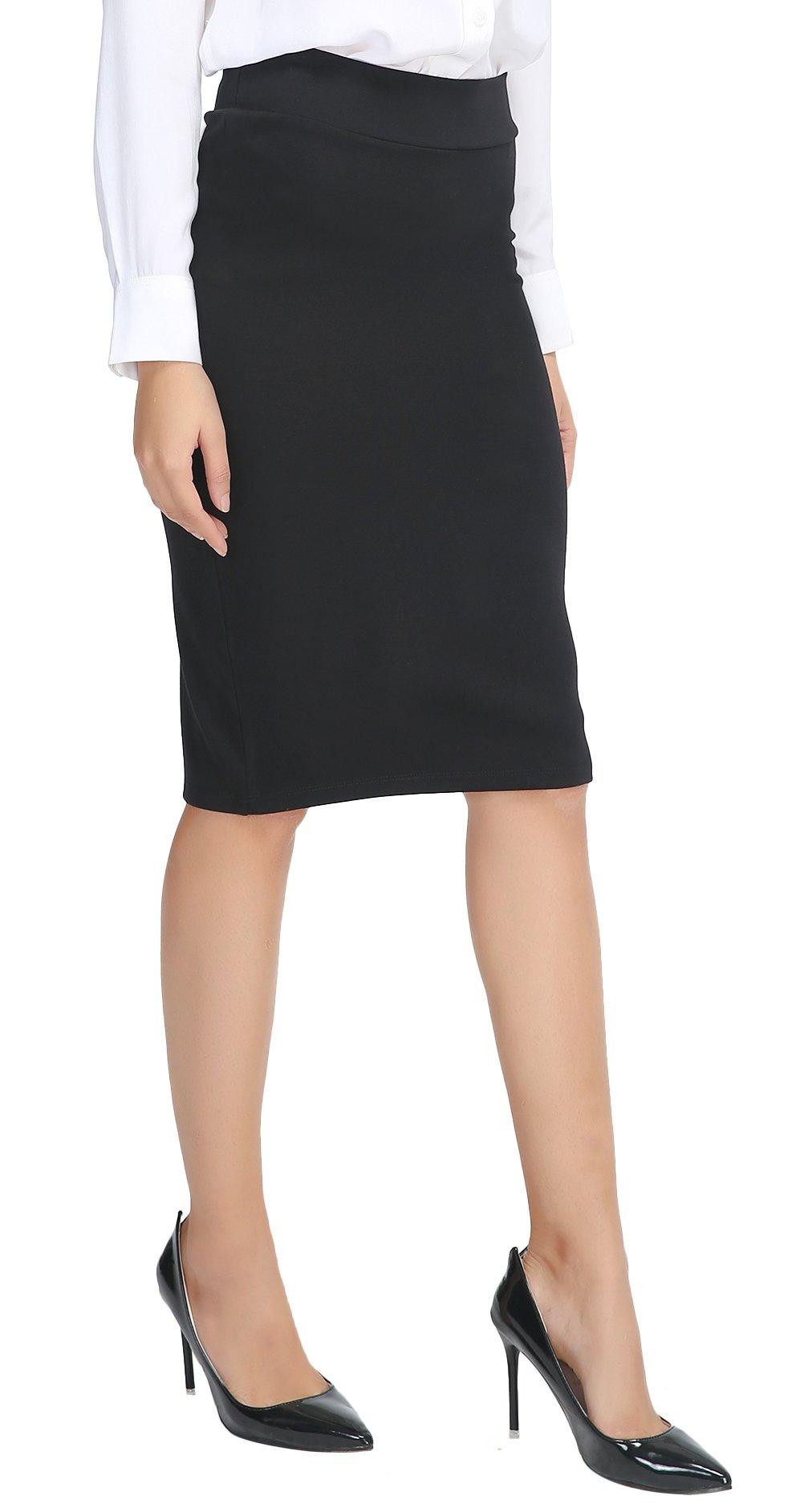 Urban CoCo Women's Elastic Waist Stretch Bodycon Midi Pencil Skirt (L, Black)
