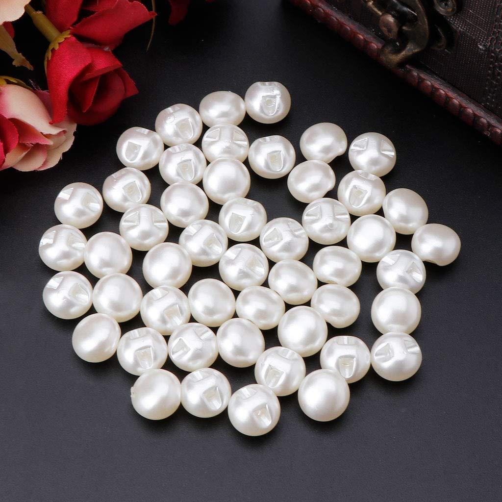 10 Fafalloagrron 50PCS 10/mm 11/mm rotondo cucire perla bottoni per cucire abbigliamento accessori abbigliamento scrapbooking indumento abbigliamento Tool DIY plastica