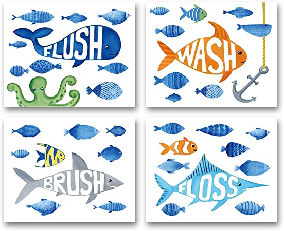 Amazon Com Watercolor Ocean Fish Bathroom Art Print Flush Floss Wash Brush Quote Canvas Wall Art 8 X10 X4 Pcs Unframed Perfect For Baby Washroom Decor Posters Prints