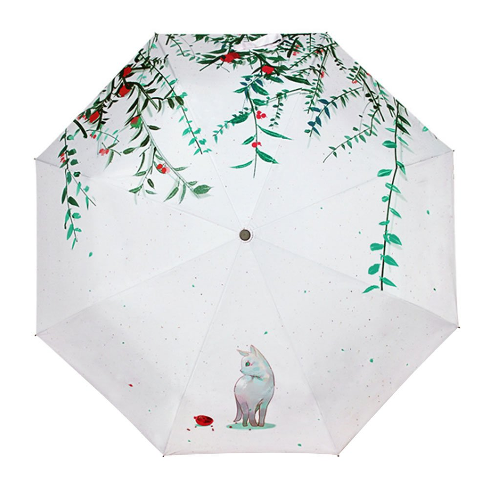 QCHOMEE Cat Willow 3 Folding Parasol Sun Protection Anti-UV Travel Umbrella