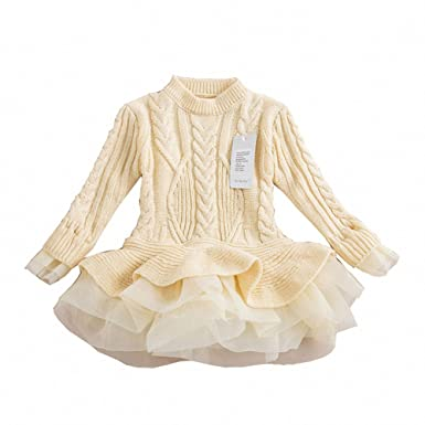 fe18b73fbfb Girls Ruffle Sweater Long Sleeves Tutu Dresses Stitching Knitting Pullover  Tops for Kids (Beige