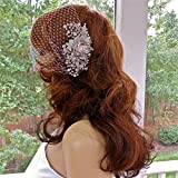Rhinestone Comb With Veil For Bride, Bandeau Face Veil For Wedding