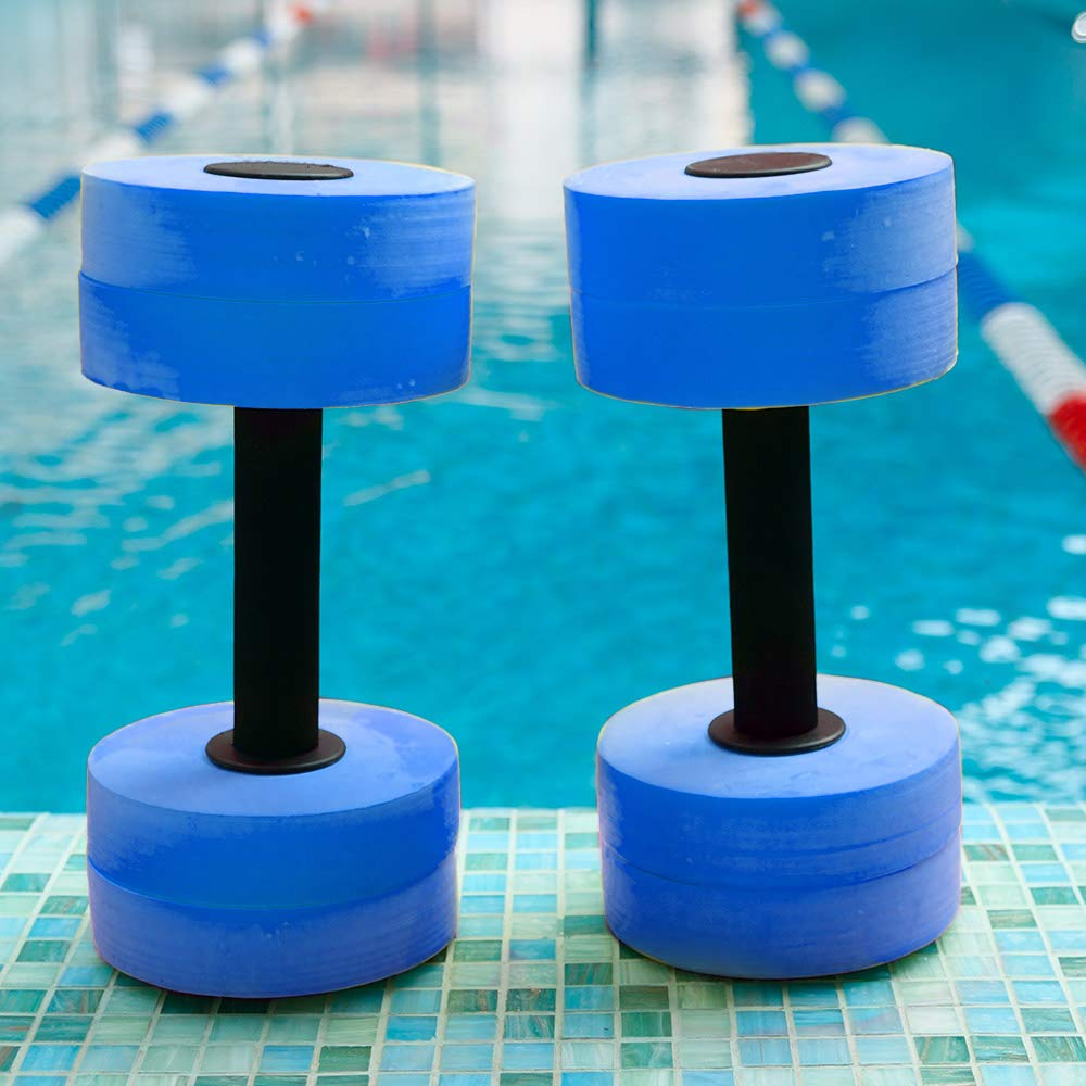 Lightweight Water Aerobic Weights Aquatic Exercise Equipment for Weight Loss Set of 2 Unisex Aqua Fitness Barbells Made of EVA Foam with Low Water Absorption Dumbbells for Watersport Exercise