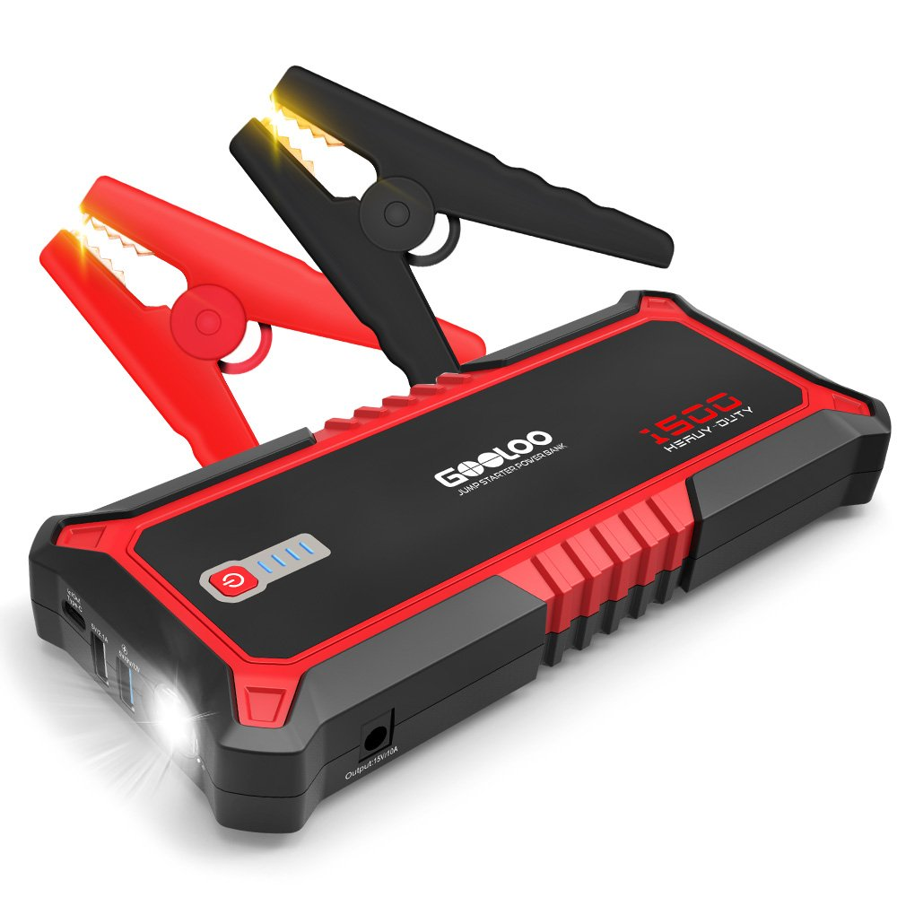 GOOLOO [Quick Charge 3.0 & Type-C] 1500A Peak SuperSafe Car Jump Starter PD 15W Auto Battery Booster Power Pack Portable Phone Charger with Dual USB, Built-in LED Light and Smart Protect