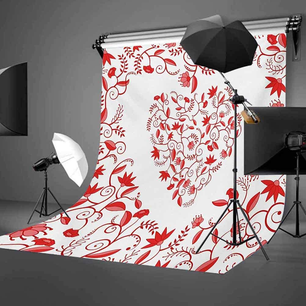 6x8 FT Backdrop Photographers,Paisley Floral Details with Leaves and Roses in a Shape of Heart Frame Love Background for Baby Shower Birthday Wedding Bridal Shower Party Decoration Photo Studio