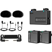 Hollyland Lark 150 2.4GHz Sistema de micrófono inalámbrico Lavalier con 2 transmisores, 1 receptor y 2 micrófonos de…