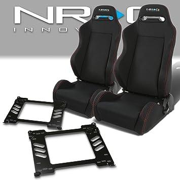 Pair of RSTRLGBK Racing Seats+Mounting Bracket for Honda Civic EG//EH//EJ