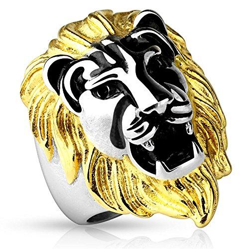 Jinique STR-0484 Stainless Steel Gold-Color Mane Lion Head Cast Ring