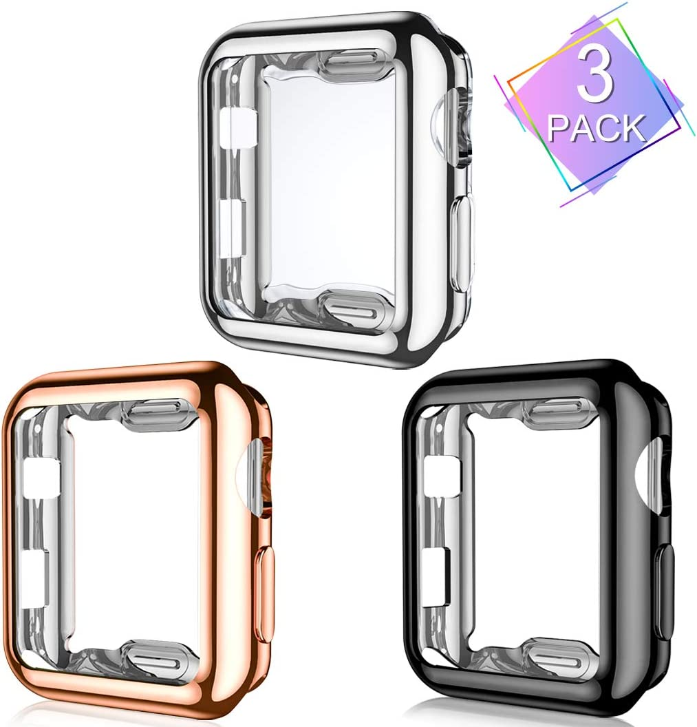 Henva Compatible with Apple Watch Case 42mm Series 3, Series 2, Series 1, Overall Protective Case Ultrathin TPU Cover for iWatch Case 42mm Series 3 2 1, 3 Pack, Black, Rose Gold, Silver