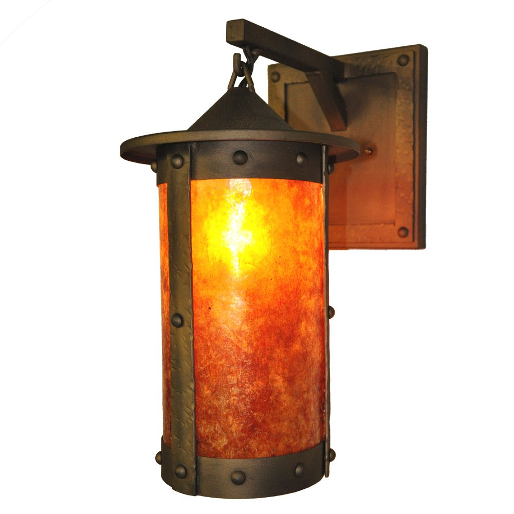 Steel Partners Lighting 2161-74-AB PASADENA ROGUE RIVER Hanging Sconce with Amber Mica Lens, Architectural Bronze Finish