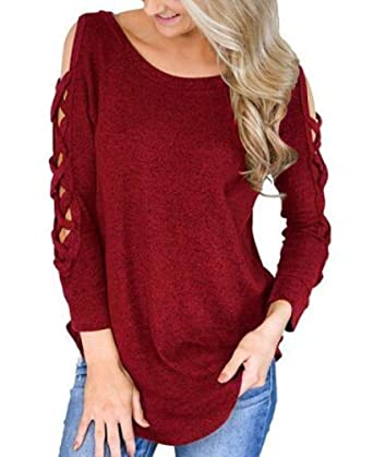 da78915b926b59 Dressffe Womens Tops Long Sleeve T Shirt Solid Strappy Cold Shoulder Tunic  Casual Blouse at Amazon Women's Clothing store: