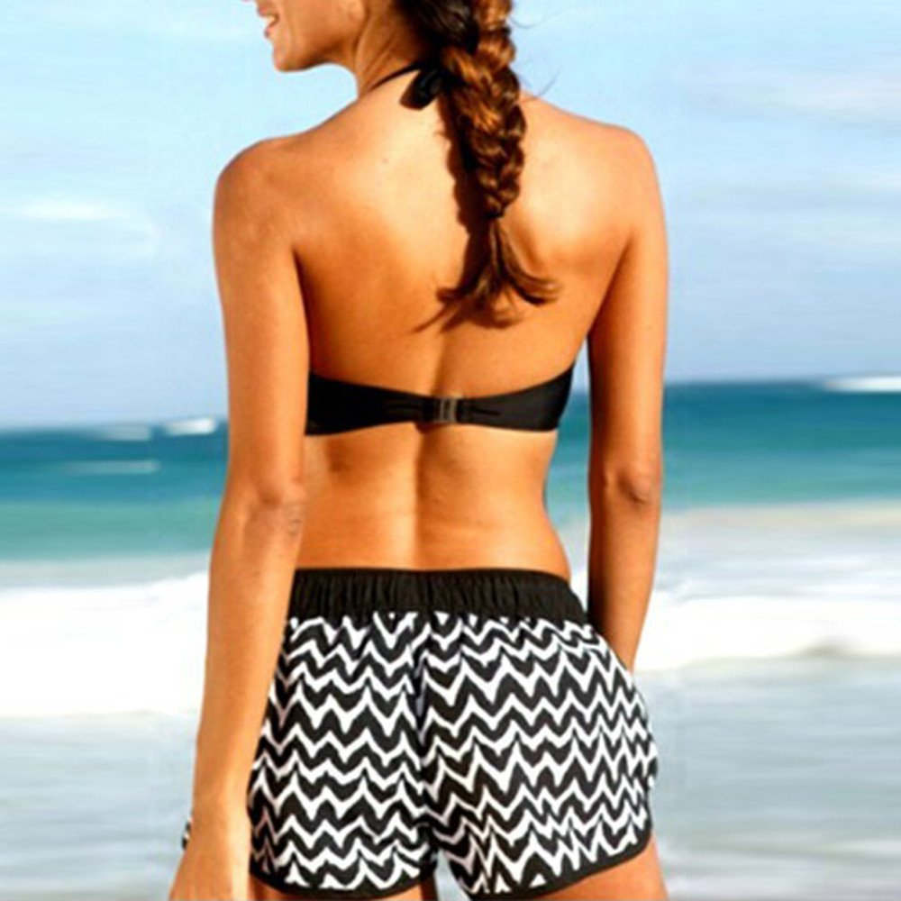 Two Piece Bikini Women High Waist Sets with Surfing Solid Shorts Swimwear