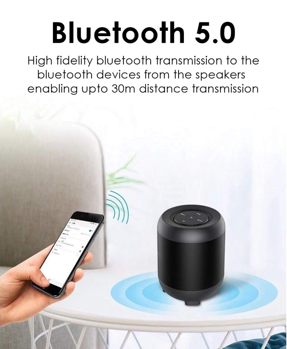 Clavier Atom Portable Bluetooth Speaker, Bluetooth 5.0 Wireless Speakers with HD Sound and Rich Bass, LED Flashing Light, Built-in Mic for iPhone & Android