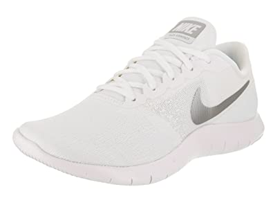 ab2f538c11003 Image Unavailable. Image not available for. Color  Nike Womens Flex Contact  White Metallic Silver Running Shoe ...