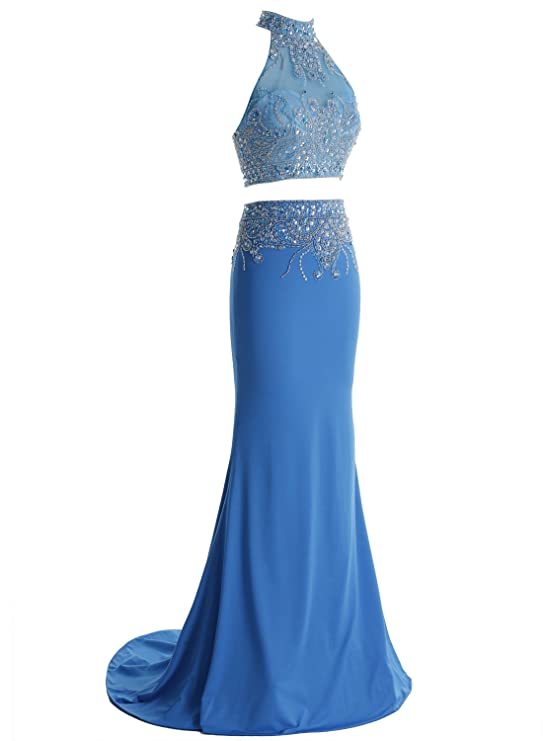 Amazon.com: Bbonlinedress Long Mermaid Two Piece Formal Prom Gowns Beaded High Neck Evening Dresses: Clothing