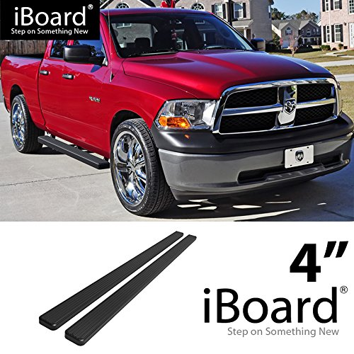 For 2009-2018 Dodge Ram 1500 Quad Cab Pickup 4-Door (Nerf Bar | Side Steps) 4' Black eBoard Running Boards HD Ridez